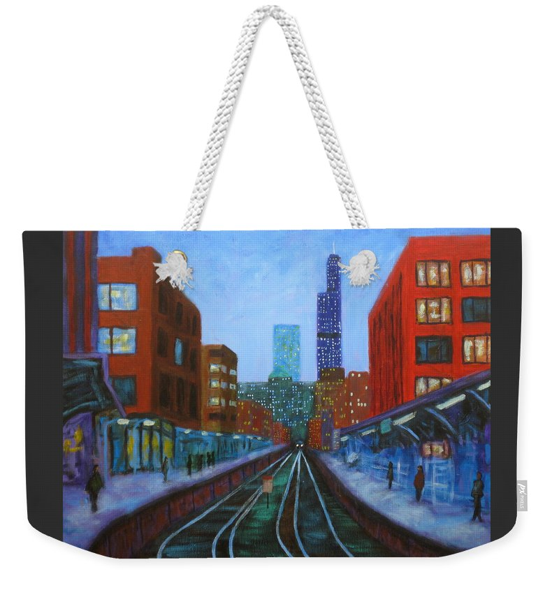 Chicago Art Weekender Tote Bag featuring the painting The Next Train by J Loren Reedy