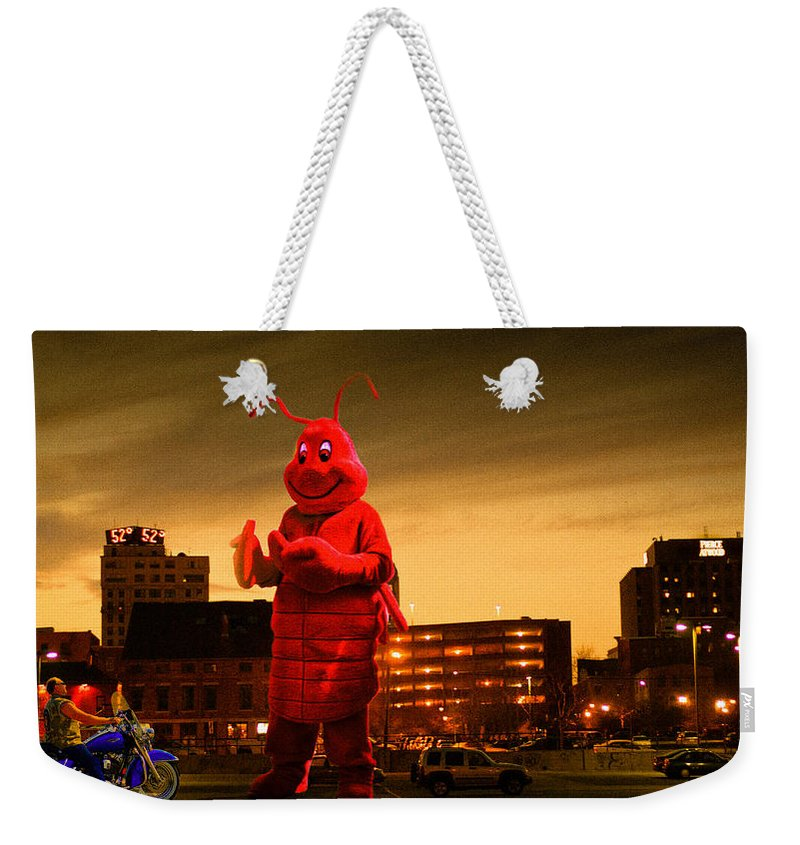 Lobsterman Weekender Tote Bag featuring the photograph The Night Of The Lobster Man by Bob Orsillo