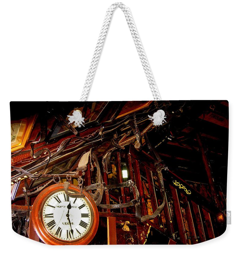 The Night Riders Homage The Bum Steer Restaurant Tucson Az Stagecoach Large Clock John Wayne Weekender Tote Bag featuring the photograph The Night Riders Homage 1939 The Bum Steer Restaurant Tucson Arizona 2005 by David Lee Guss