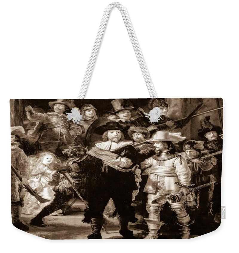 Dutch Weekender Tote Bag featuring the photograph The Night Watch By Rembrandt by Alex Hiemstra