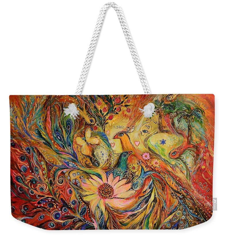 Original Weekender Tote Bag featuring the painting The Oasis by Elena Kotliarker