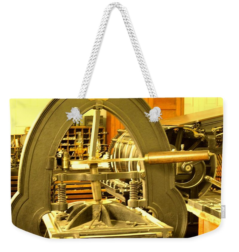 Pioneer Weekender Tote Bag featuring the photograph The Old Printing Press by Ian MacDonald