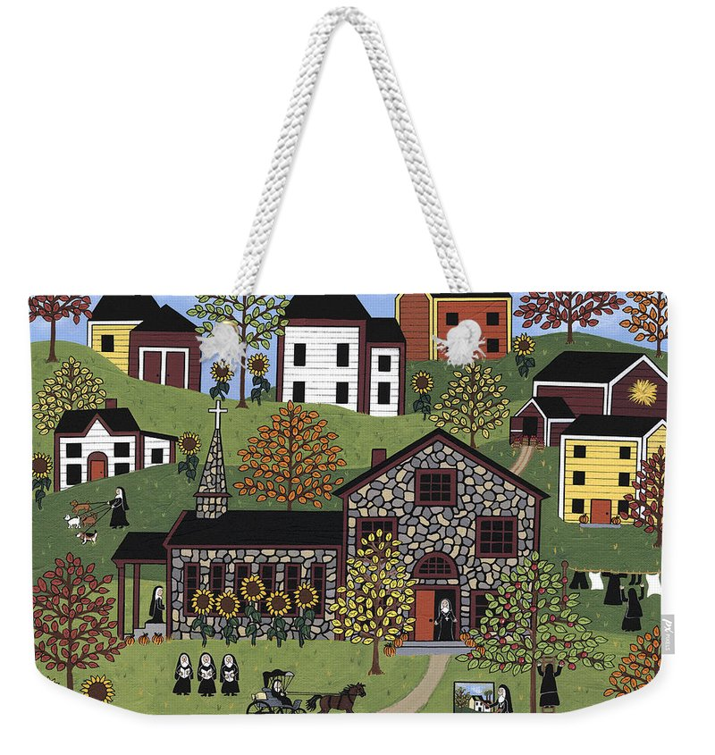 Folk Art Weekender Tote Bag featuring the painting The Old Stone Convent by Medana Gabbard