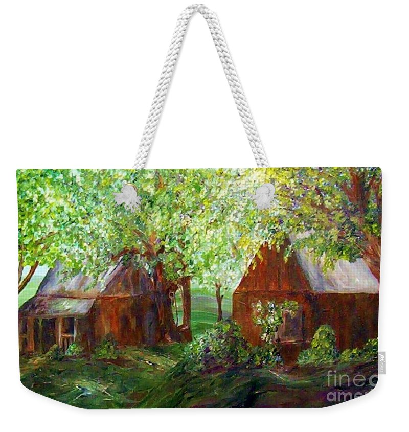 Landscape Weekender Tote Bag featuring the painting The Old Swing  by Eloise Schneider Mote