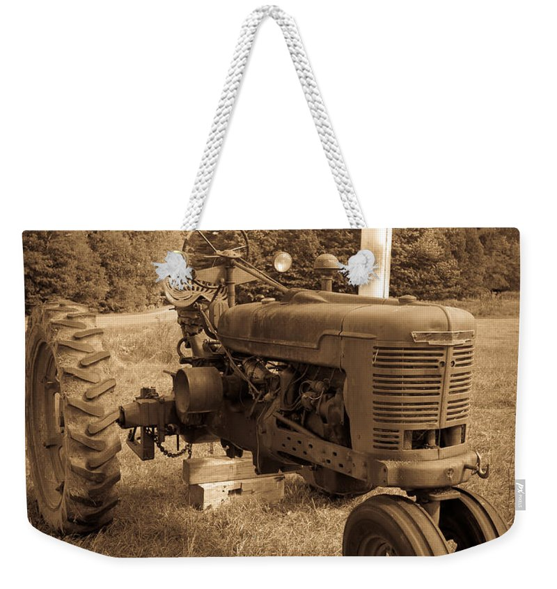 Sepia Weekender Tote Bag featuring the photograph The Old Tractor Sepia by Edward Fielding