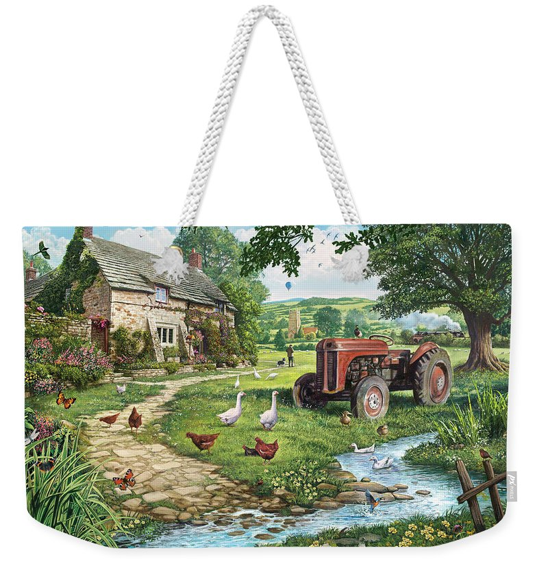 Architecture Weekender Tote Bag featuring the photograph The Old Tractor by Steve Crisp