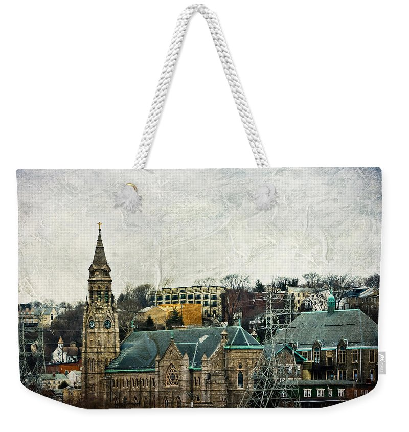 House Weekender Tote Bag featuring the mixed media The Only Good Thing About The Highway Is The Scenery by Trish Tritz