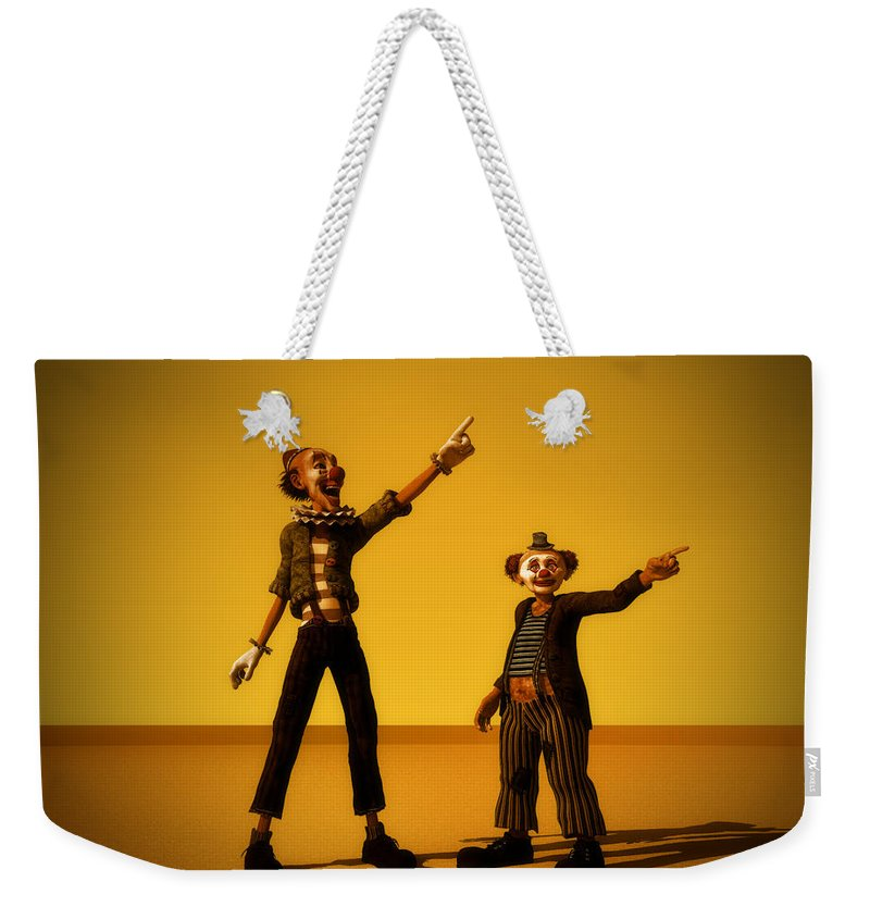 Clowns Weekender Tote Bag featuring the digital art The Only Way by Ramon Martinez