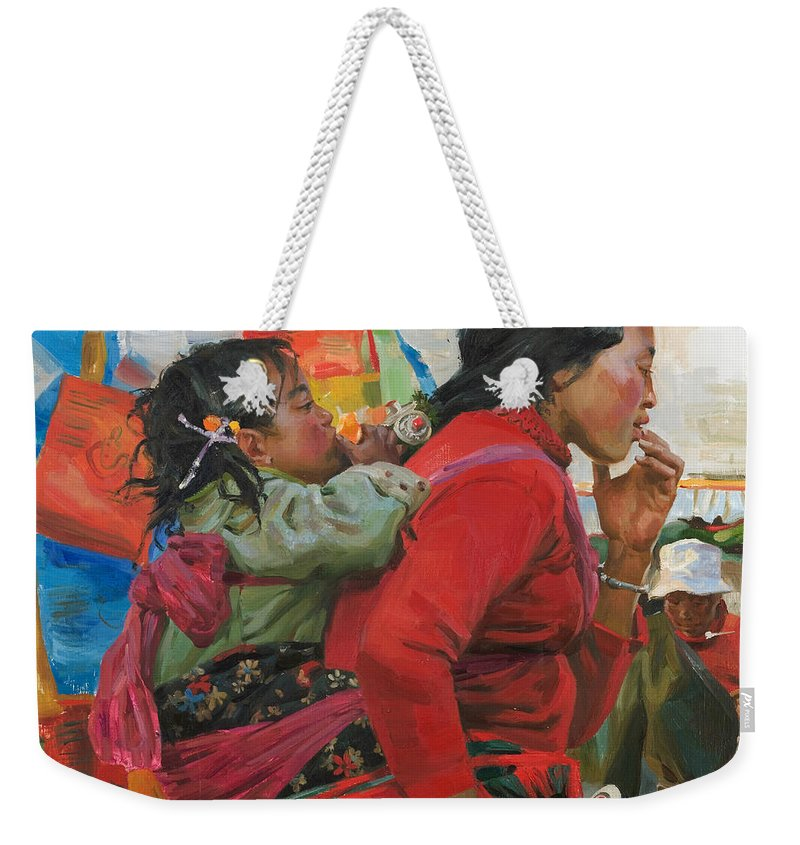 Tibet Weekender Tote Bag featuring the painting The Orange by Victoria Kharchenko