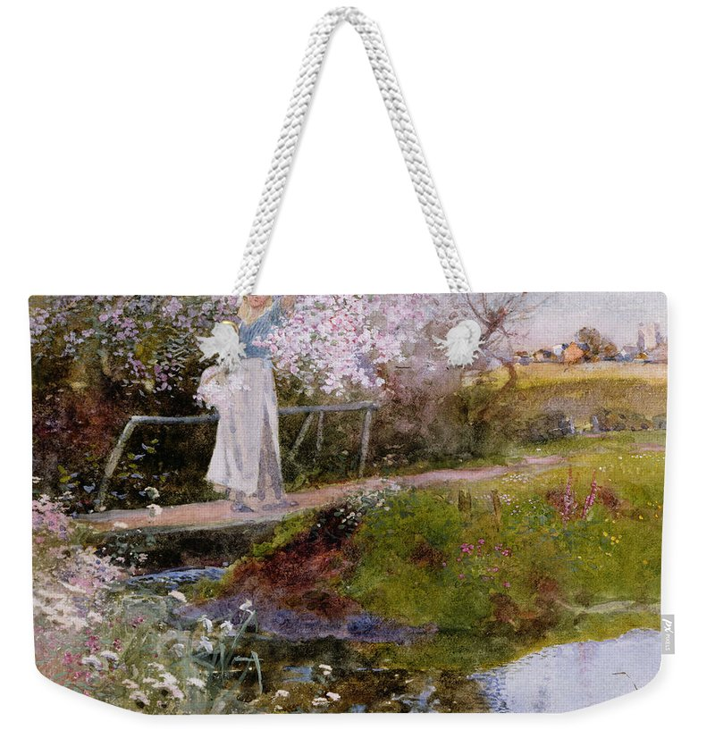 Bridge Weekender Tote Bag featuring the painting The Orchard Brook by Thomas Mackay