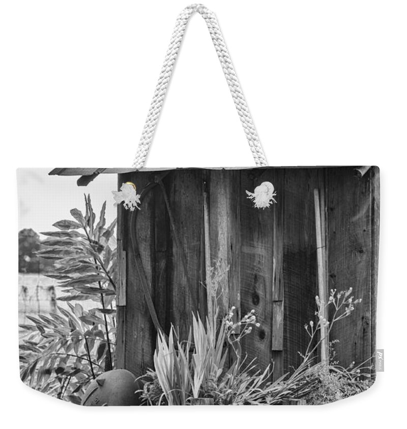 Outhouse Weekender Tote Bag featuring the photograph The Outhouse Bw by Carolyn Marshall
