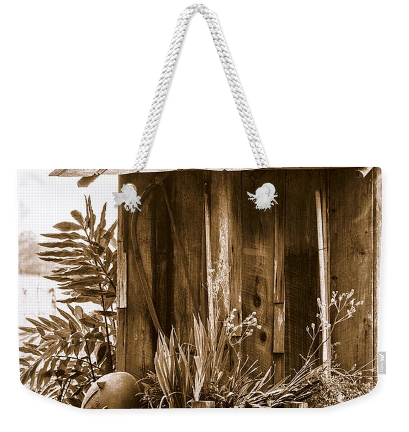 Outhouse Weekender Tote Bag featuring the photograph The Outhouse by Carolyn Marshall