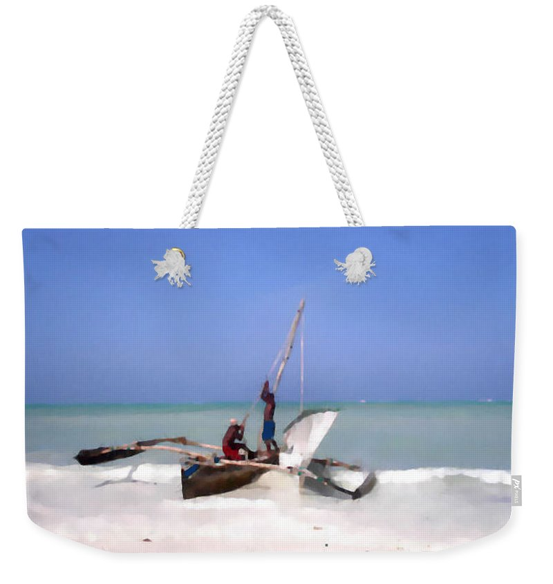 Tall-ship Weekender Tote Bag featuring the painting The Outrigger by Jann Paxton