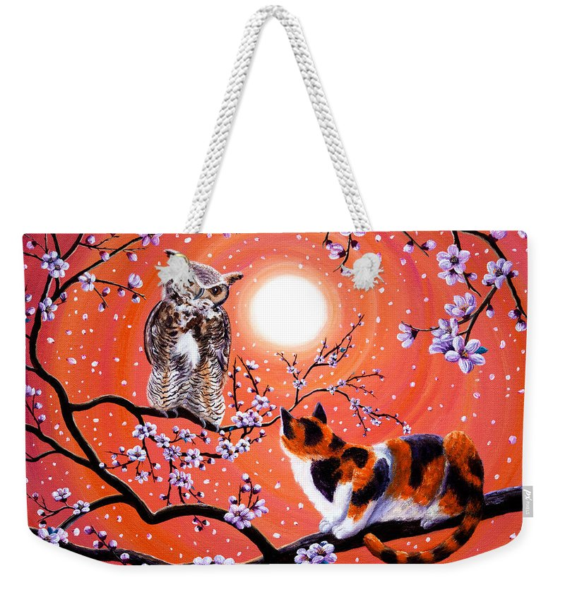 Peach Weekender Tote Bag featuring the painting The Owl And The Pussycat In Peach Blossoms by Laura Iverson