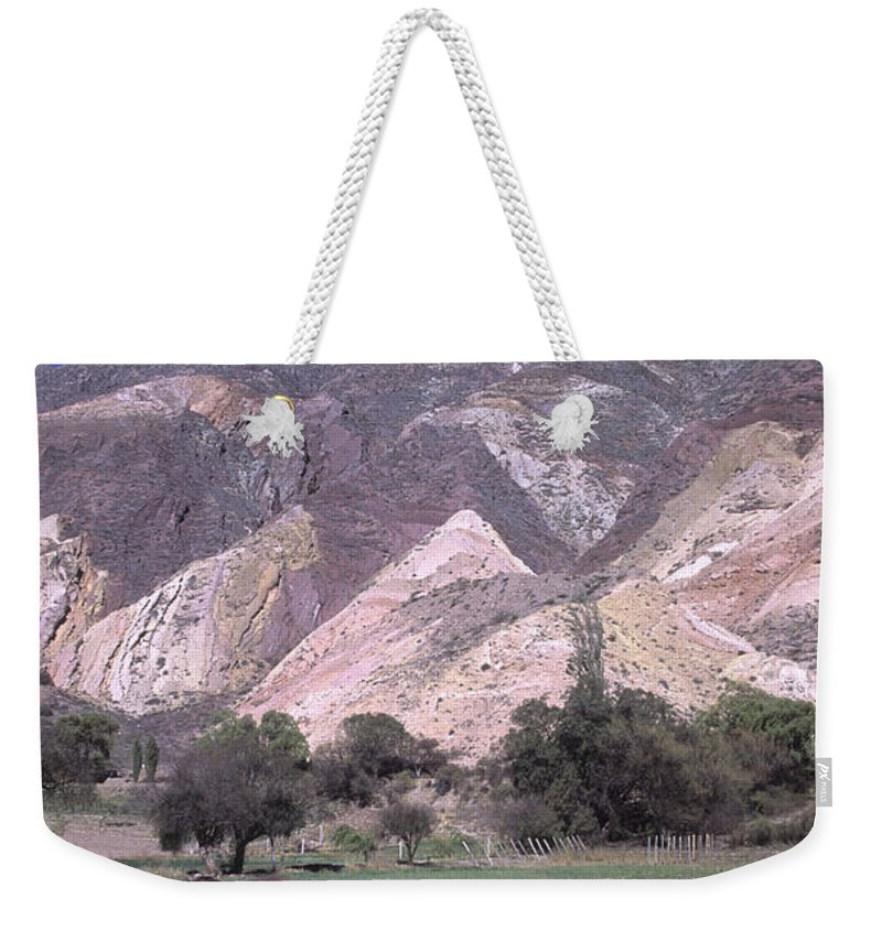 Argentina Weekender Tote Bag featuring the photograph The Painters Palette Jujuy Argentina by James Brunker