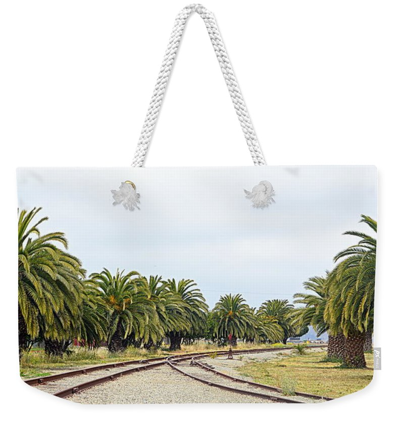 Scenic Weekender Tote Bag featuring the photograph The Palms By The Tracks by AJ Schibig