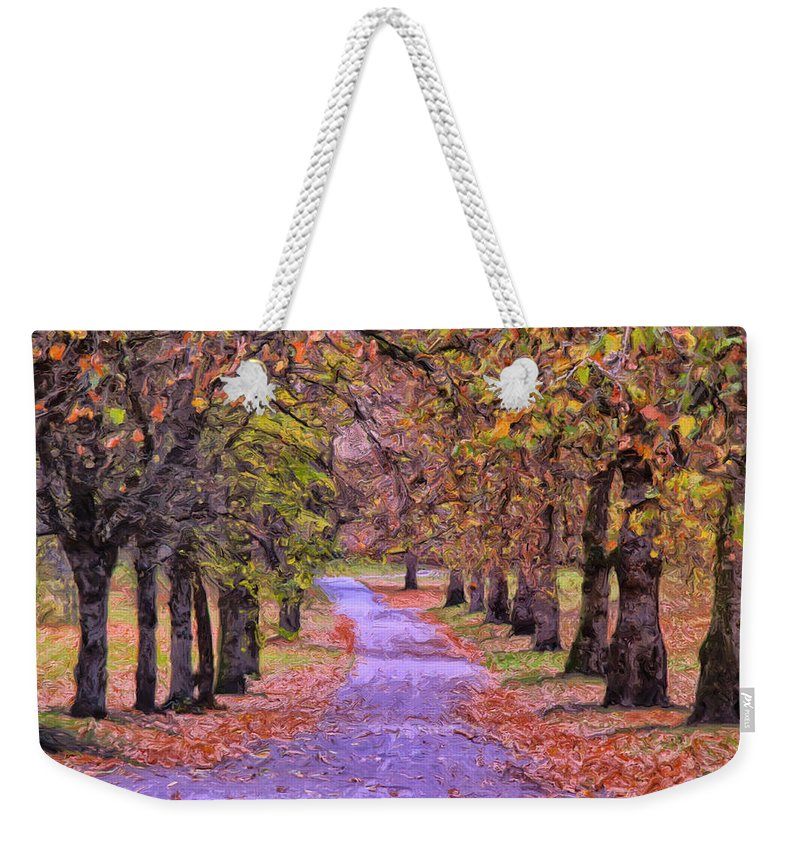 Park Weekender Tote Bag featuring the painting The Park In Autumn by Dominic Piperata