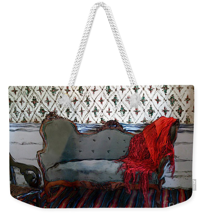 Furniture Weekender Tote Bag featuring the painting The Parlor At Chicago Joe's by RC DeWinter