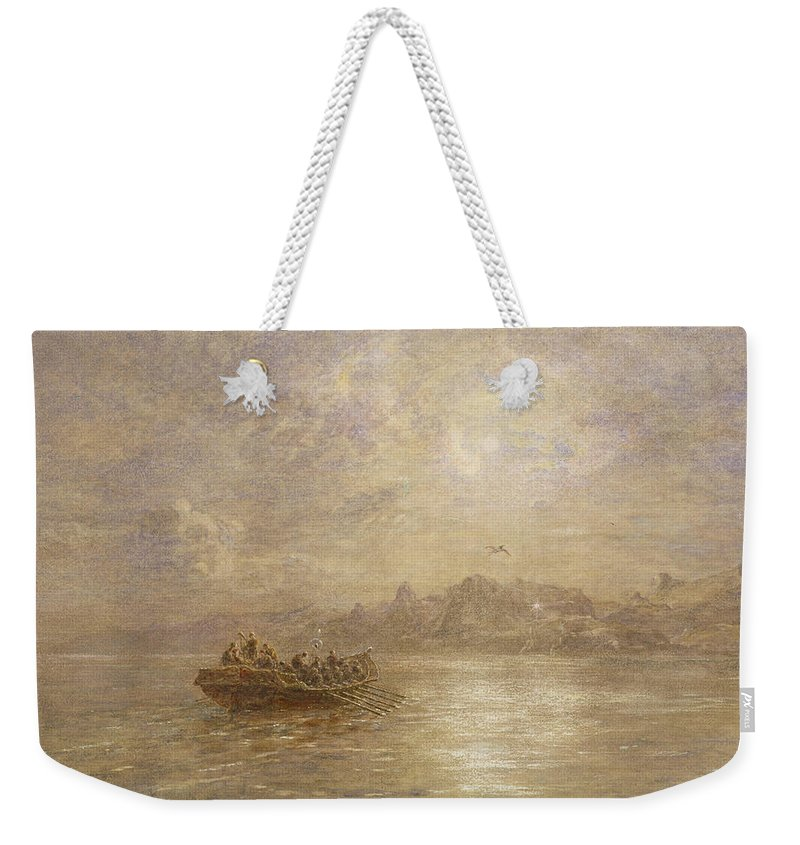 Dawn; Dusk; Fog; Mist; Sea; Coast; Coastal; Morning; Evening; Rowing Boat; Mountains; Cliffs; Crew; Shore; Atmospheric; Signal; Light; Nocturne Weekender Tote Bag featuring the painting The Passing Of 1880 by Thomas Danby