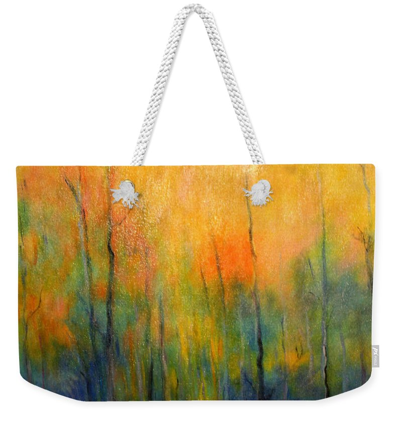 Landscape Weekender Tote Bag featuring the painting The Path To Forever by Alison Caltrider