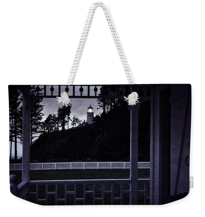 Heceta Weekender Tote Bag featuring the photograph The Perfect Frame For The Heceta Lighthouse by Image Takers Photography LLC - Laura Morgan