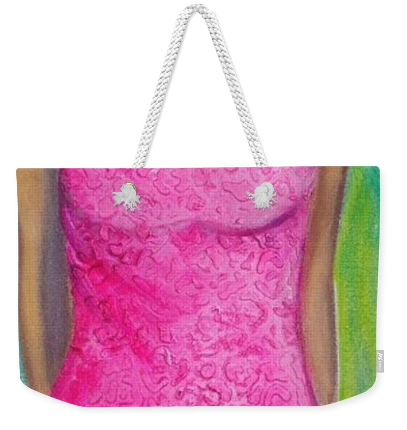 Woman Weekender Tote Bag featuring the painting The Pink Dress by Debi Starr