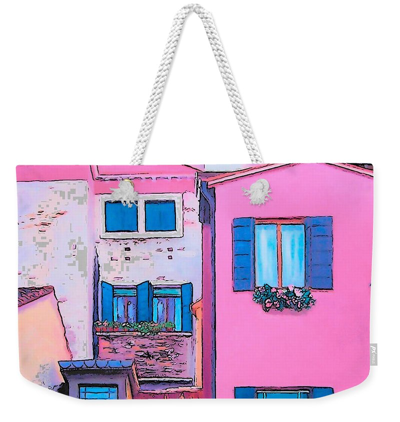 Pink House Weekender Tote Bag featuring the painting The Pink House by Jan Matson