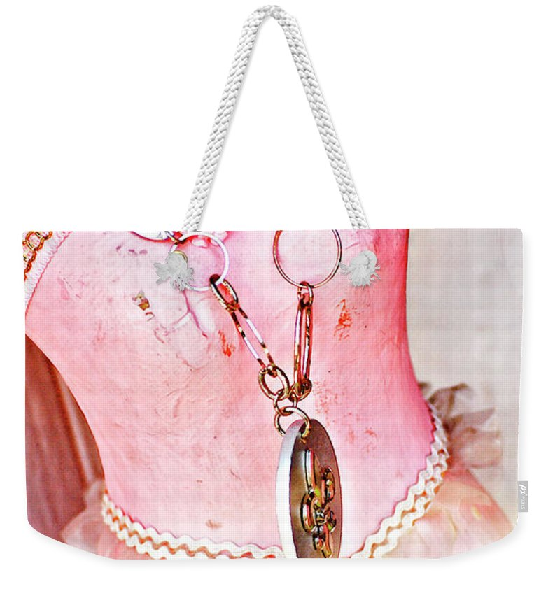 Dress Weekender Tote Bag featuring the photograph The Pink Tutu Dress With The Fleur De Lis by Kathleen K Parker