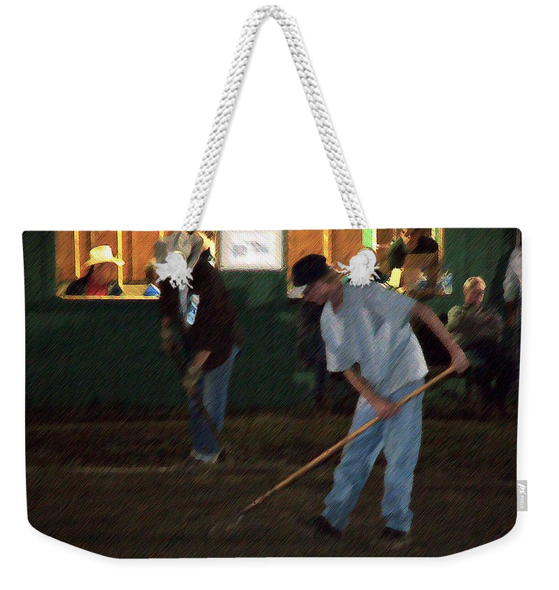 Men Weekender Tote Bag featuring the painting The Pit Crew by RC DeWinter