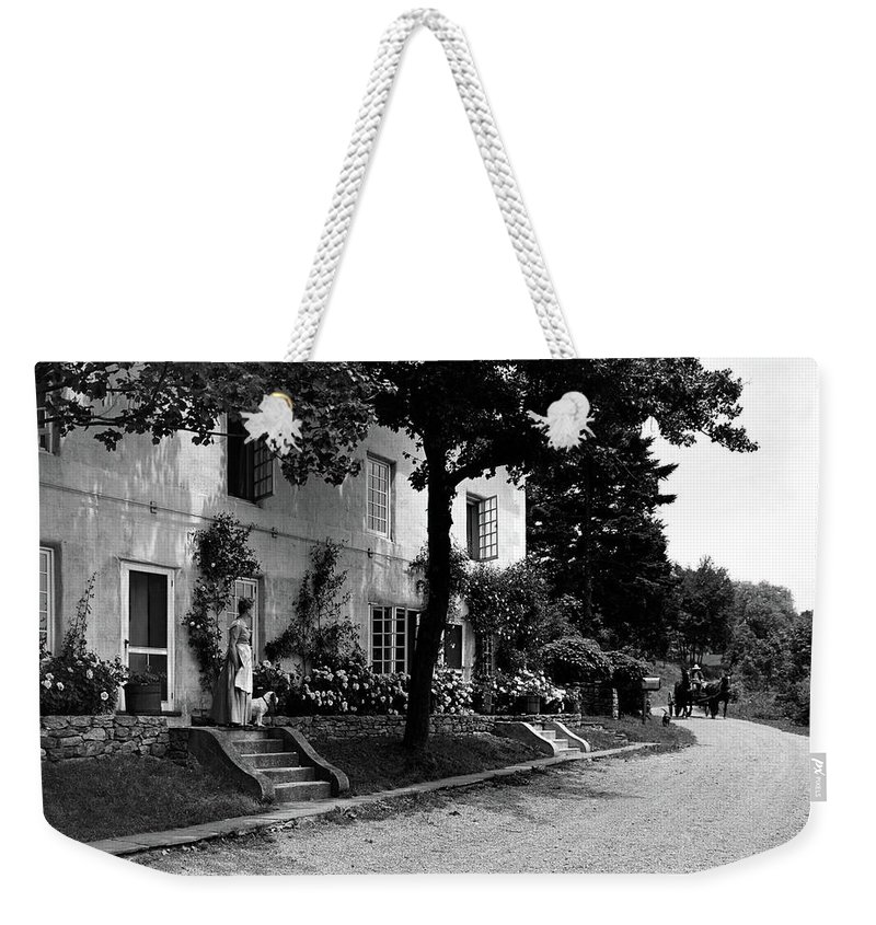 Architecture Weekender Tote Bag featuring the photograph The Platt's House In New Jersey by Samuel H. Gottscho