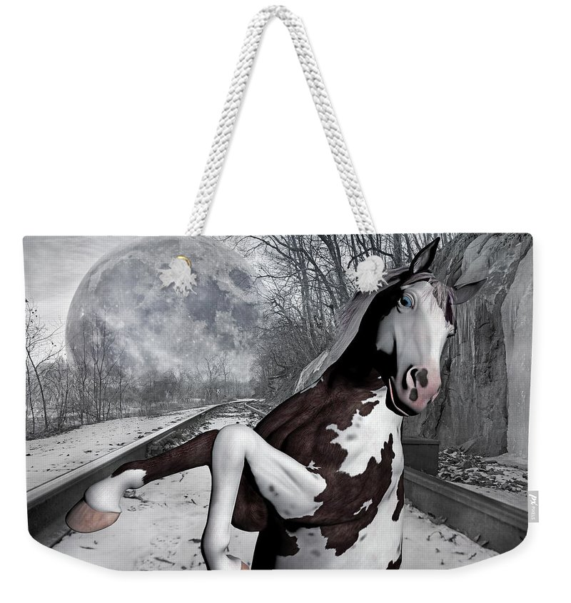 The Weekender Tote Bag featuring the mixed media The Pony Express by Betsy Knapp