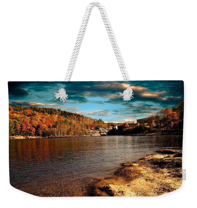 Clouds Weekender Tote Bag featuring the photograph The Pool Below Upper Falls Rumford Maine by Bob Orsillo