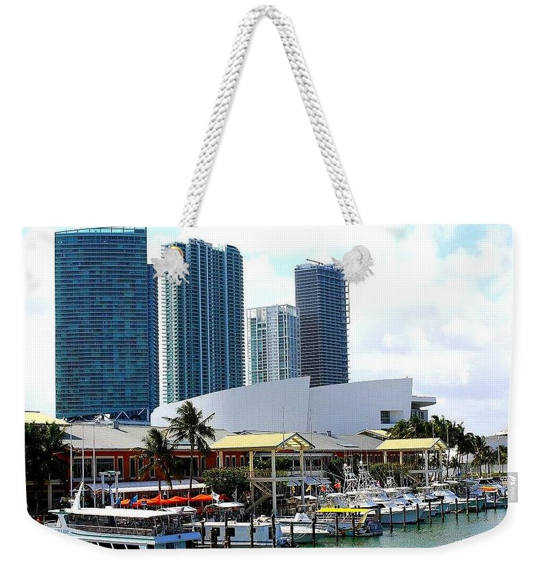 Miami Skyline Weekender Tote Bag featuring the photograph The Port Of Miami At Bayside by Dora Sofia Caputo Photographic Design and Fine Art