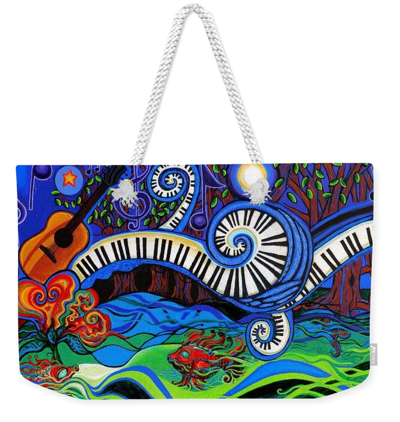 Music Weekender Tote Bag featuring the painting The Power Of Music by Genevieve Esson