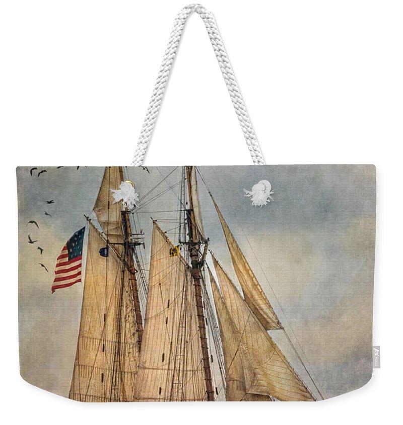 Pride Of Baltimore Ii Weekender Tote Bag featuring the digital art The Pride Of Baltimore II by Dale Kincaid