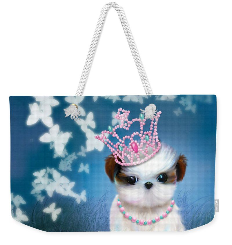 Princess Weekender Tote Bag featuring the mixed media The Princess by Catia Lee