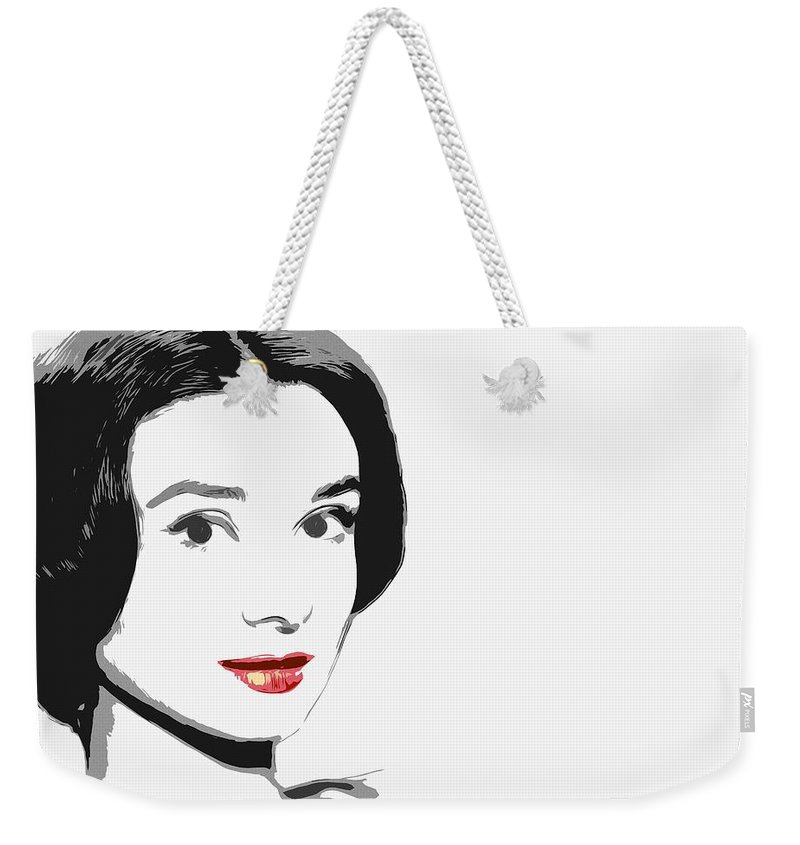Princess Beauty Female Actress Woman Girl Red Lips Face Portrait Abstract Expressionism Impressionism Audrey Hepburn Famous Star Weekender Tote Bag featuring the painting The Princess Of Beauty by Steve K