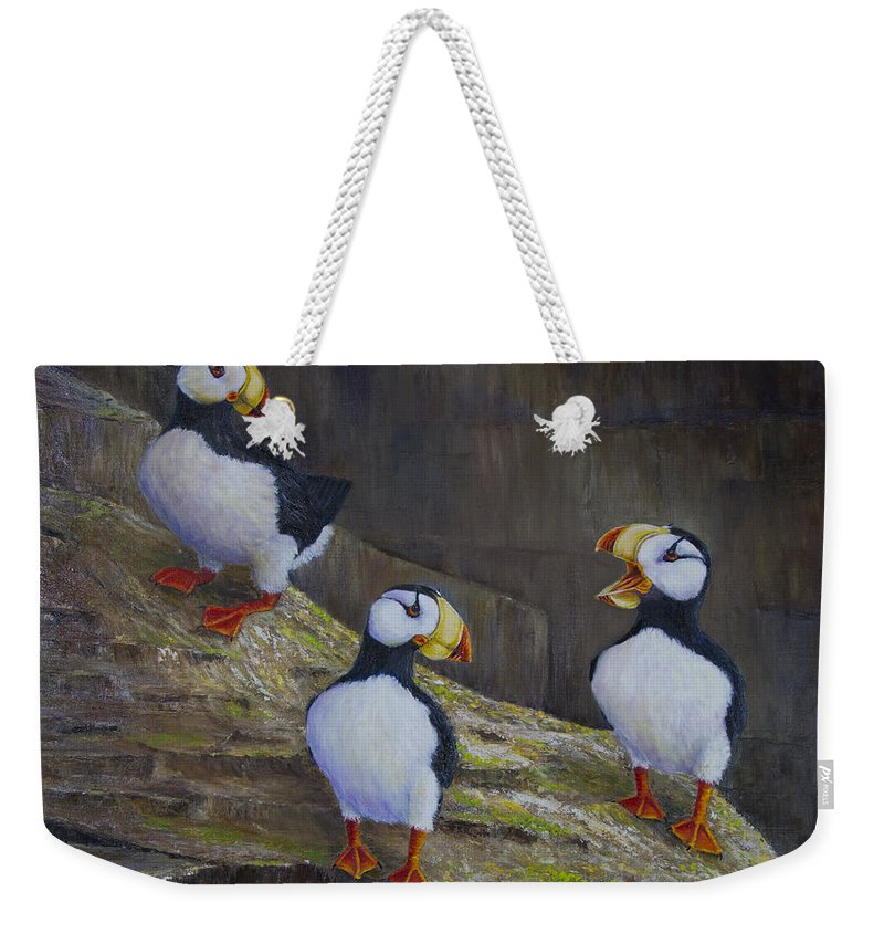 Horned Weekender Tote Bag featuring the painting The Puffin Report by Dee Carpenter