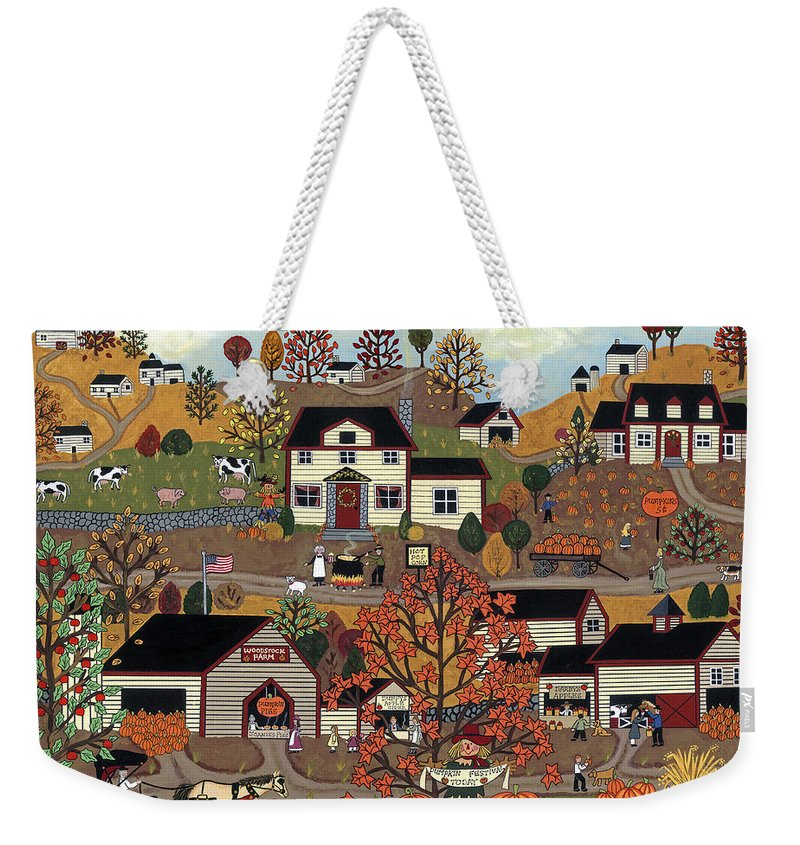 Folk Art Weekender Tote Bag featuring the painting The Pumpkin Festival by Medana Gabbard