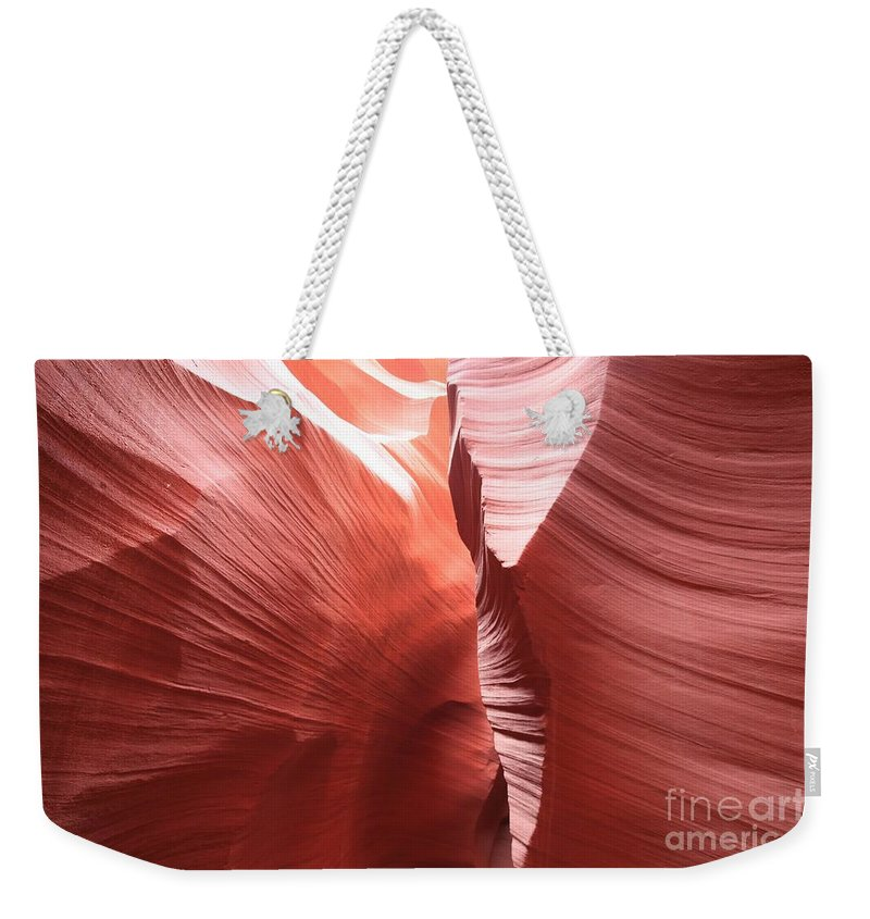 Arizona Slot Canyon Weekender Tote Bag featuring the photograph The Purple Passage by Adam Jewell