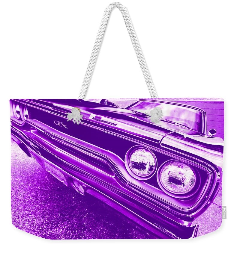 1970 Weekender Tote Bag featuring the photograph The Purple People Eater - 1970 Plymouth Gtx by Gordon Dean II