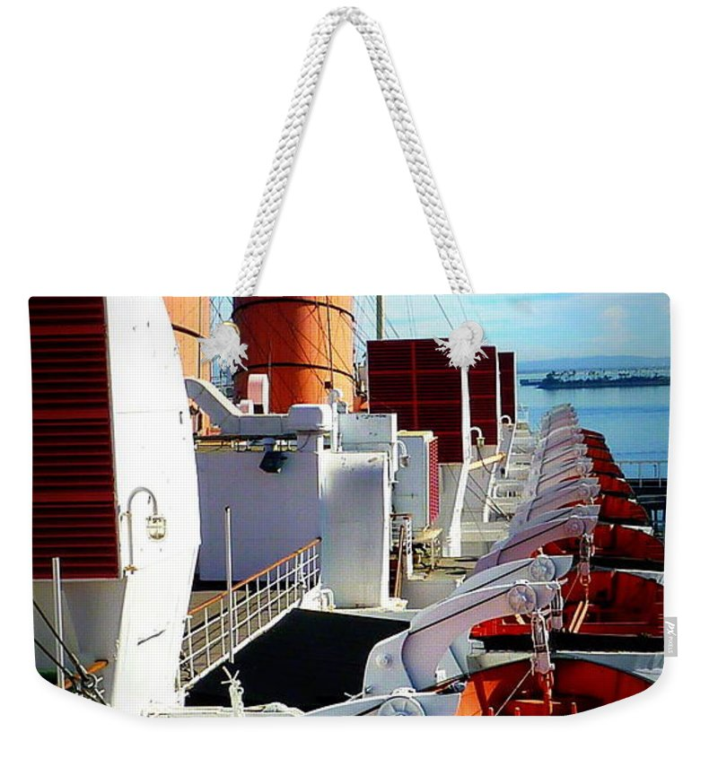 Queen Mary Cruise Ship Weekender Tote Bag featuring the photograph The Queen Mary by Susan Garren