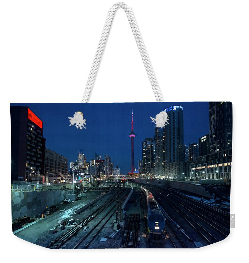 Train Weekender Tote Bag featuring the photograph The Railway Lands Toronto by This Image
