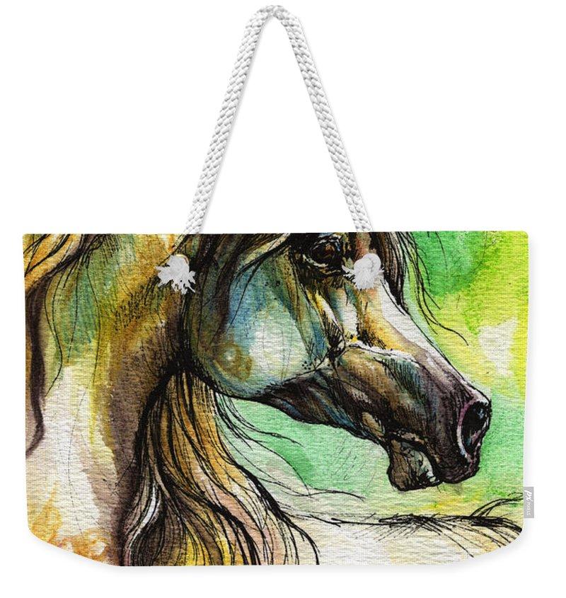 Horse Weekender Tote Bag featuring the painting The Rainbow Colored Arabian Horse by Angel Ciesniarska