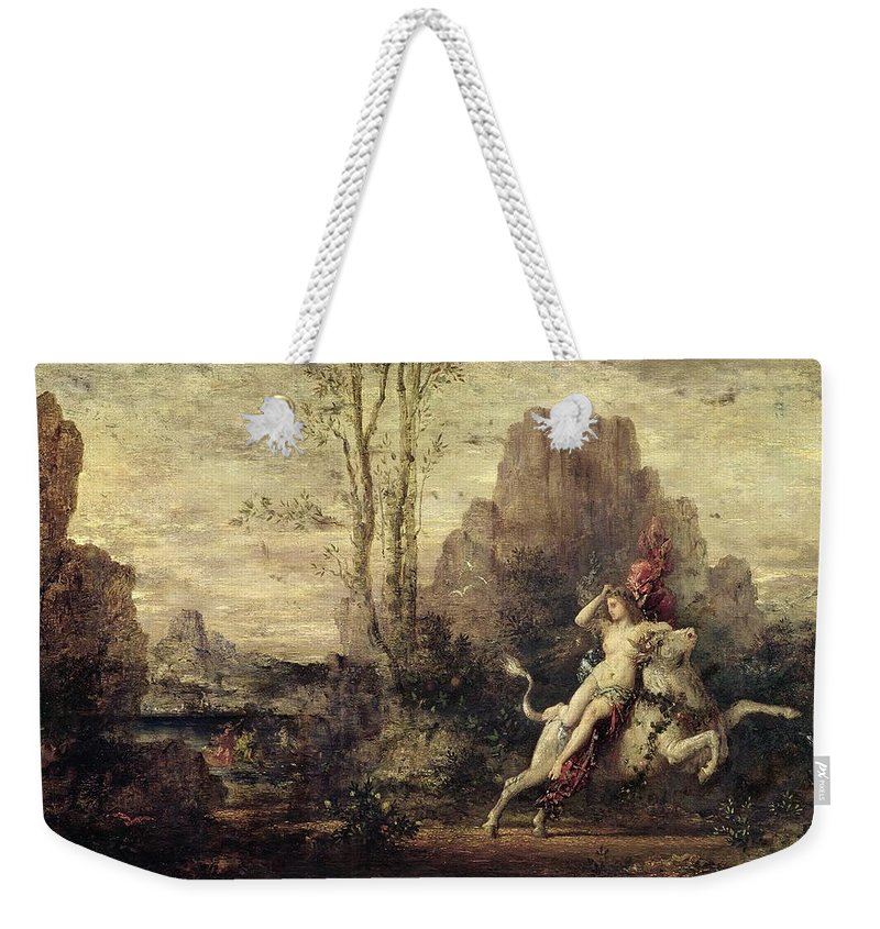 Metamorphosis; Zeus; Landscape; Symbolist; Female; Nude; Abduction; Abducted; Enlevement; Europe Weekender Tote Bag featuring the painting The Rape Of Europa by Gustave Moreau