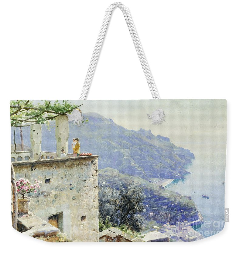 1920s Weekender Tote Bag featuring the painting The Ravello Coastline by Peder Monsted