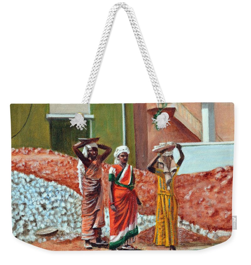 Real Weekender Tote Bag featuring the painting The Real Home Makers by Usha Shantharam