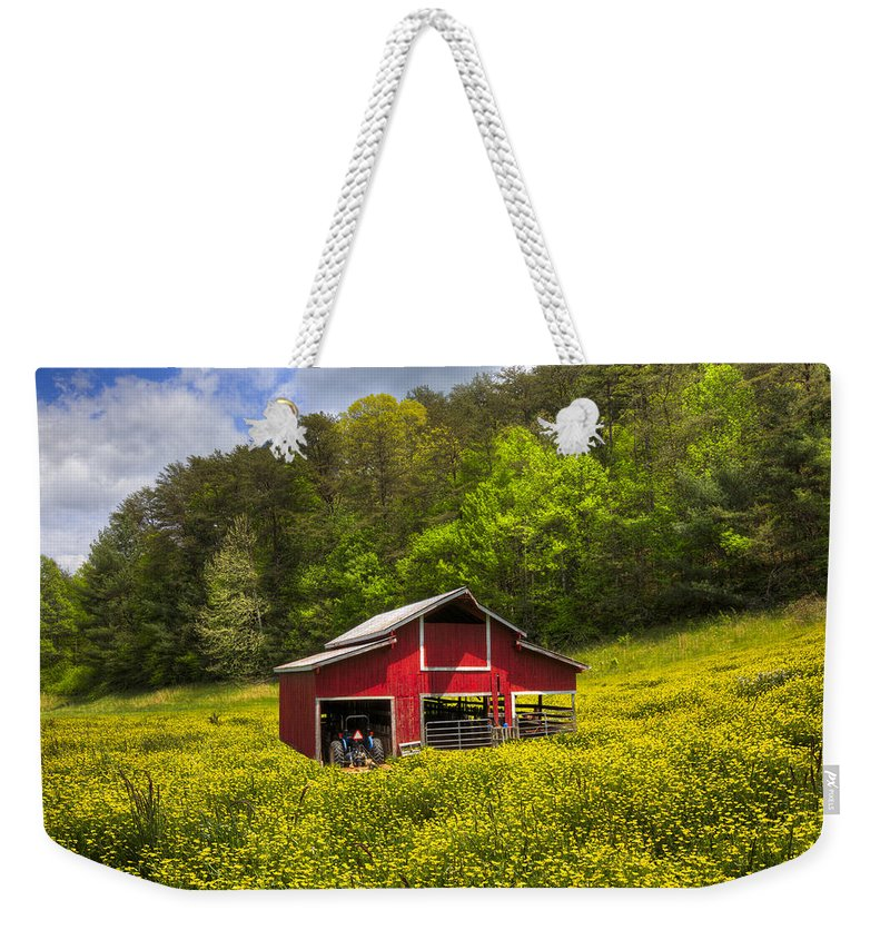 Appalachia Weekender Tote Bag featuring the photograph The Red Barn by Debra and Dave Vanderlaan
