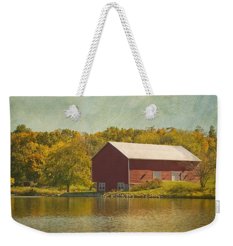 Barn Weekender Tote Bag featuring the photograph The Red Barn by Kim Hojnacki
