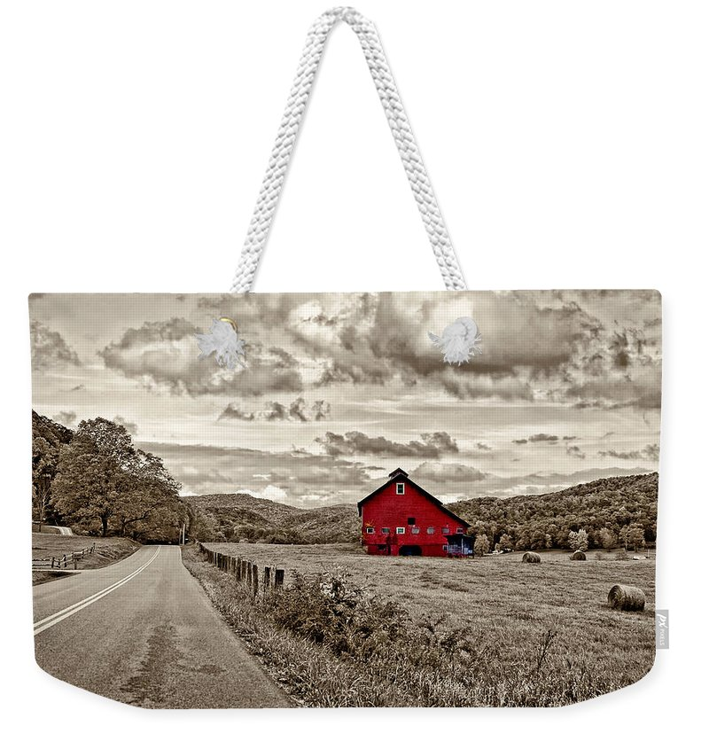 West Virginia Weekender Tote Bag featuring the photograph The Red Barn by Steve Harrington